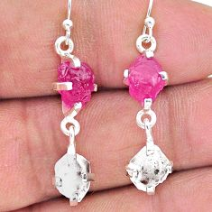 12.07cts natural ruby raw herkimer diamond 925 silver dangle earrings t15250