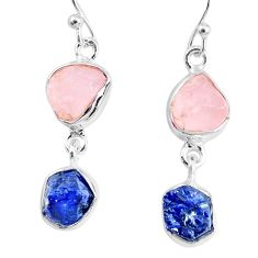 9.83cts natural sapphire rose quartz raw silver dangle handmade earrings r74271