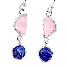 10.32cts natural sapphire rose quartz raw silver dangle handmade earrings r74276