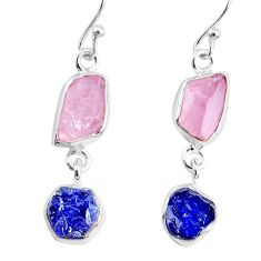 9.35cts natural sapphire rose quartz raw silver dangle handmade earrings r74277