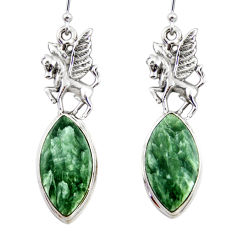 20.69cts natural seraphinite (russian) 925 silver dangle earrings r45278