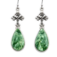 22.22cts natural seraphinite (russian) 925 silver tree of life earrings r45267
