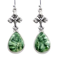 19.61cts natural seraphinite (russian) 925 silver tree of life earrings r45274
