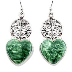21.67cts natural seraphinite (russian) 925 silver tree of life earrings r45280