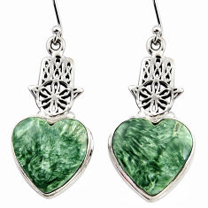 21.02cts natural seraphinite (russian) silver hand of god hamsa earrings r45275