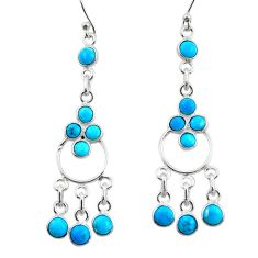 6.90cts natural sleeping beauty turquoise 925 silver chandelier earrings r45041