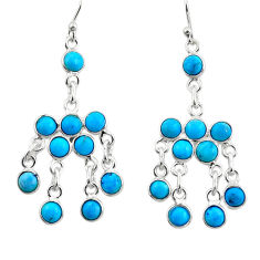 8.26cts natural sleeping beauty turquoise 925 silver chandelier earrings r45042