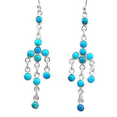 7.67cts natural sleeping beauty turquoise 925 silver chandelier earrings r45043