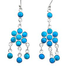 8.59cts natural sleeping beauty turquoise 925 silver chandelier earrings r45044