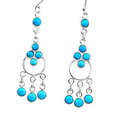 6.48cts natural sleeping beauty turquoise 925 silver chandelier earrings r45064