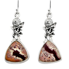 Natural sonoran dendritic rhyolite 925 silver cupid angel wings earrings r45346
