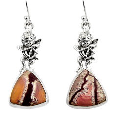 Natural sonoran dendritic rhyolite 925 silver cupid angel wings earrings r45354