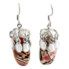 29.55cts natural sonoran dendritic rhyolite 925 silver dangle earrings d39672
