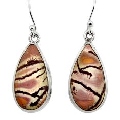 13.87cts natural sonoran dendritic rhyolite 925 silver dangle earrings r45355