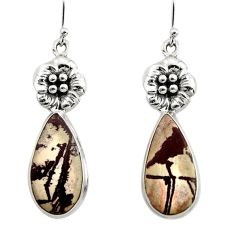19.00cts natural sonoran dendritic rhyolite 925 silver flower earrings r45353