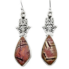 Natural sonoran dendritic rhyolite 925 silver hand of god hamsa earrings r45347
