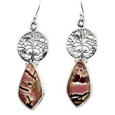 Natural sonoran dendritic rhyolite 925 silver tree of life earrings r45343