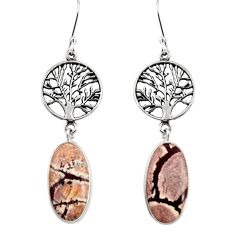 16.85cts natural sonoran dendritic rhyolite silver tree of life earrings d39627