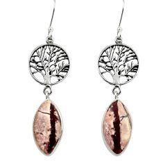 15.31cts natural sonoran dendritic rhyolite silver tree of life earrings d39636