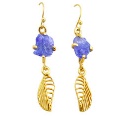 8.56cts natural tanzanite rough 925 silver 14k gold deltoid leaf earrings t29782