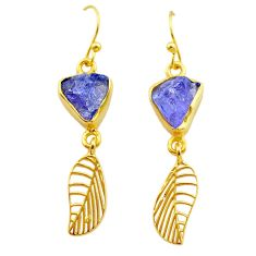 9.39cts natural tanzanite rough 925 silver 14k gold deltoid leaf earrings t29784