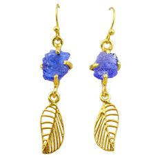 8.56cts natural tanzanite rough 925 silver 14k gold deltoid leaf earrings t29798