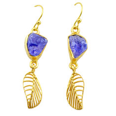 9.83cts natural tanzanite rough 925 silver 14k gold deltoid leaf earrings t29799