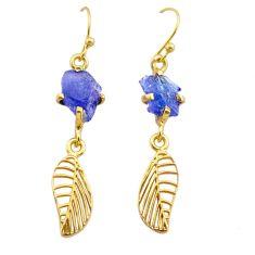 7.13cts natural tanzanite raw 14k gold deltoid leaf handmade earrings t29802