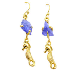 8.87cts natural tanzanite rough 925 silver 14k gold seahorse earrings t29783