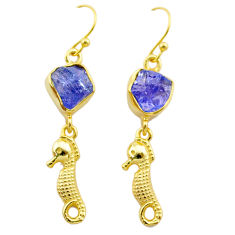 9.44cts natural tanzanite rough 925 silver 14k gold seahorse earrings t29794