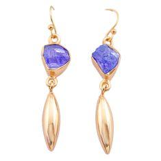 8.87cts natural tanzanite raw 14k rose gold handmade dangle earrings t29817