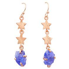 8.12cts natural tanzanite raw 14k rose gold handmade star earrings t29807