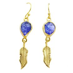 10.32cts natural tanzanite rough 925 silver gold deltoid leaf earrings t29793