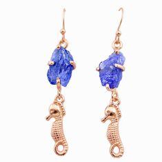 9.83cts natural tanzanite raw 14k rose gold seahorse handmade earrings t29808