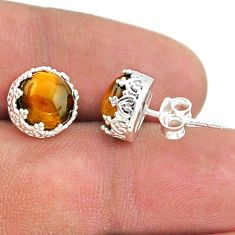 5.92cts natural tiger's eye 925 sterling silver crown stud earrings t43685