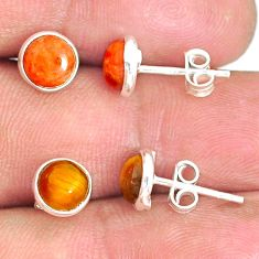 5.20cts natural tiger's eye copper turquoise 925 silver stud earrings r81592