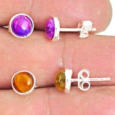 6.19cts natural tiger's eye copper turquoise 925 silver stud earrings r81604