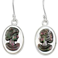 7.47cts natural titanium cameo on shell 925 silver lady face earrings r80409