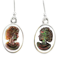 7.50cts natural titanium cameo on shell 925 silver lady face earrings r80412
