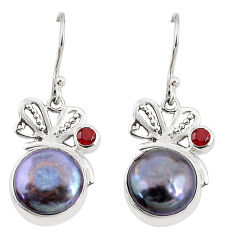 9.47cts natural titanium pearl garnet 925 sterling silver dangle earrings c26057