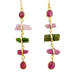 14.73cts natural tourmaline rough 925 silver 14k gold dangle earrings d47525