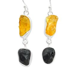 13.87cts natural tourmaline raw citrine raw 925 silver earrings t21153