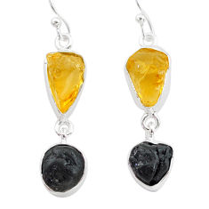 13.04cts natural tourmaline raw citrine raw 925 silver earrings t21154