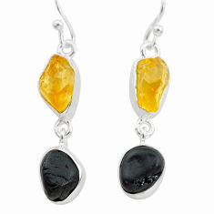 11.57cts natural tourmaline raw citrine raw 925 silver earrings t21158