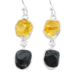 12.58cts natural tourmaline raw citrine raw 925 silver earrings t21159