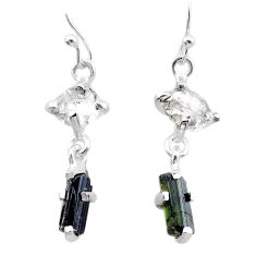 9.02cts natural tourmaline rough herkimer diamond 925 silver earrings t25671