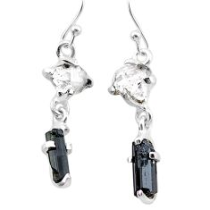 9.07cts natural tourmaline rough herkimer diamond 925 silver earrings t25672