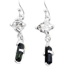8.50cts natural tourmaline rough herkimer diamond 925 silver earrings t25675