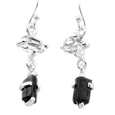 9.02cts natural tourmaline rough herkimer diamond 925 silver earrings t25676