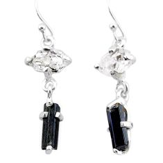 7.85cts natural tourmaline rough herkimer diamond 925 silver earrings t25678